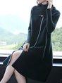 Knitted Slit Elegant Sweater Dress