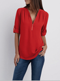 Half Sleeve Chiffon Zipper Casual Top