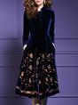 Velvet Stand Collar Burgundy Elegant Floral Midi Dress