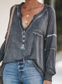 Long Sleeve Casual V Neck Top