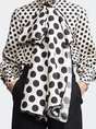 Polka Dots Bow Stand Collar Printed Work Blouse