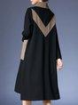 Turtleneck Printed Pockets Casual Midi Dress