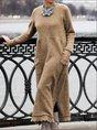 Long Sleeve Plain Casual Dress
