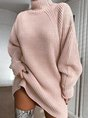 Knitted Raglan Sleeve Turtleneck Casual Sweater Dress