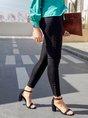 Black Sheath Casual Solid Zipper Leg Pants