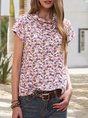 Women Multicolors Romantic Floral Cotton Tee