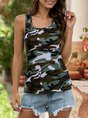 Crew Neck Casual Sleeveless Camo BasicTop