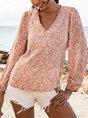 Pink Boho V Neck 3/4 Sleeve Top
