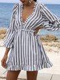 V Neck A-Line Daytime Striped Mini Dress