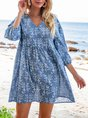 V Neck Blue A-Line Boho Mini Dress