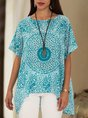 Blue Crew Neck Short Sleeve Casual  Top