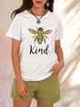 White Casual Short Sleeve Shift Bee  Top