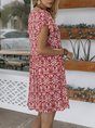 Orange Red Shift Beach Floral Mini Dress