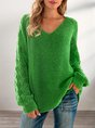 Green Casual Eyelet Solid Long Sleeve Shift Sweater
