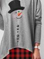 Christmas Snowman Print Long SleeveTop