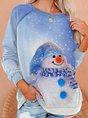 Christmas Snowman Casual Shift Long Sleeve Sweatshirt