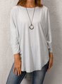 Solid 3/4 Sleeve Cotton-Blend Casual Top