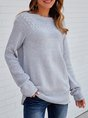 Grey Solid Long Sleeve Crew Neck Sweater