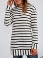 Green Long Sleeve Stripes Crew Neck Top