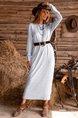 Gray Long Sleeve Shift Dress (Without Belt)