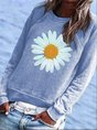 Blue Cotton-Blend Crew Neck Floral Casual Top