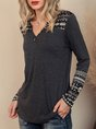 Tribal Long Sleeve Solid Paneled Casual Top